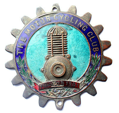RARE Early The Motorcycling Club Enamel Car Badge *FREE POST*