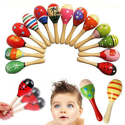 Kids Baby Toddler Wooden Toy Maracas Rumba Shakers Musical Party Rattles Gift NT