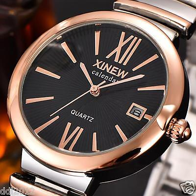 Luxury Men's Women Crystal Date Stainless Steel Band Quartz Analog Wrist Watch
