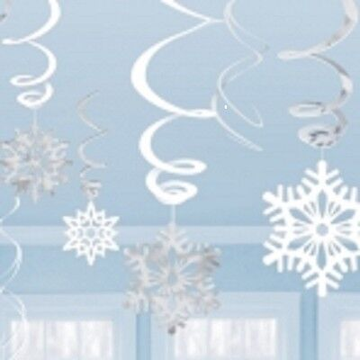 Christmas snowflakes hanging swirl decorations pack of 12