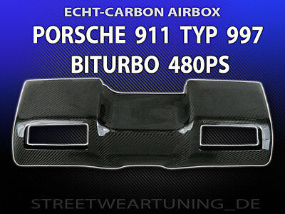 REAL CARBON AIRBOX - PORSCHE 911 TYPE 997 TURBO BITUBO 480PS new! Top Quality