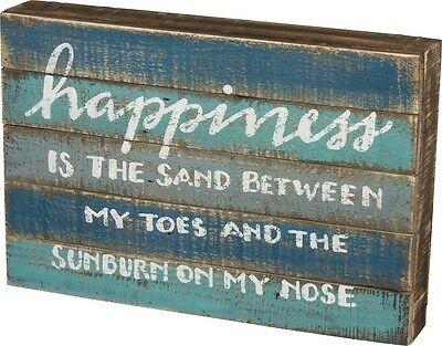 WOOD SLAT SIGN~HAPPINESS IS THE SAND BETWEEN MY TOES AND THE SUNBURN...~Beach