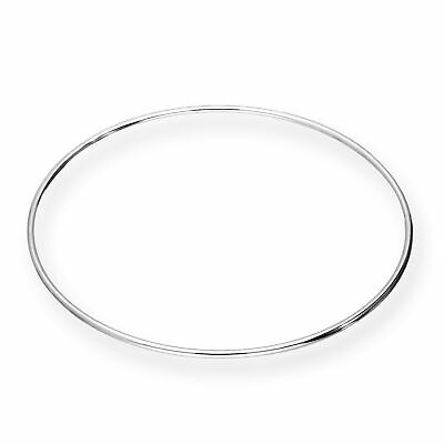 Lightweight 925 Real Sterling Silver Solid 1.5mm Fine Round Bangle 68mm Bangles