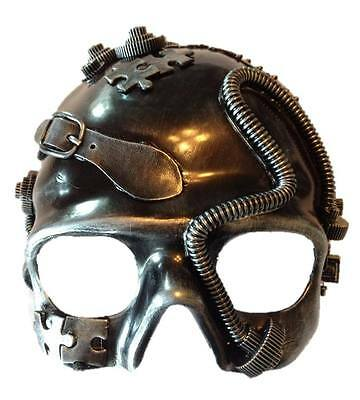 Silver Steampunk Skull Costume Half Mask Mens Womens Adult Masquerade Skeleton