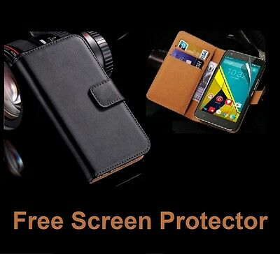 Genuine Leather Flip Case Wallet Cover For Samsung Galaxy Phones + Screen Film