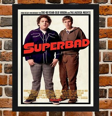 Framed Superbad Movie Poster A4 / A3 Size Mounted In Black / White Frame