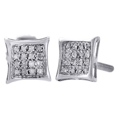 .925 Sterling Silver Pave Real Diamond Studs 6.65mm Mini Kite Earrings 0.10 Ct.