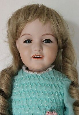 "Large 23"" Antique Reproduction JDK Kestner Artist Design Bisque Porcelain Doll"