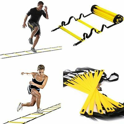 Flat Rung Agility Ladder Train Training Football Soccer Workout Exercise