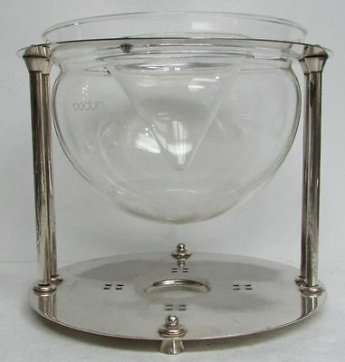 Outstanding Retro Caviar Silver Plate & Crystal Master Serving Bowl