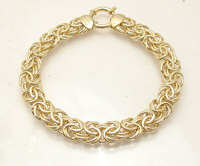 All Solid Heavy and Bold Byzantine Bracelet Real 14K Yellow Gold QVC 38.8 grams