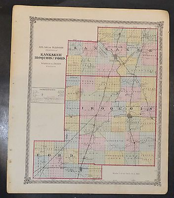 Original 1875 Map of Kankakee Iroquis Ford Counties  Illinois 18.5x15.5 inch