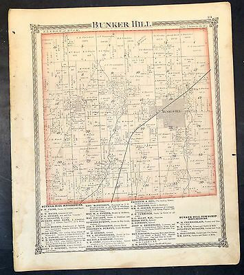 Original 1875 Map of City and Township of Bunker Hill  Illinois 18.5x15.5 inch