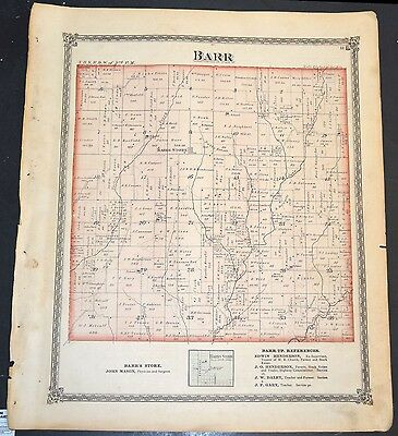 Original 1875 Map of Barr Township  Illinois 18.5x15.5 inch