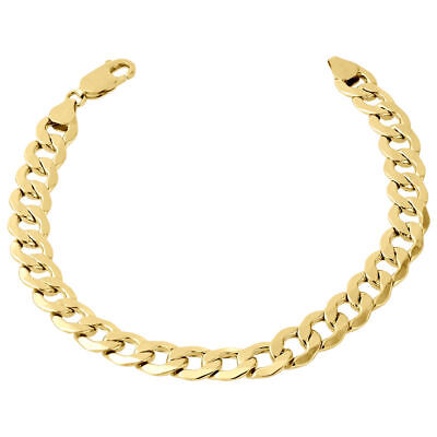 "Men's Real 10K Yellow Gold Hollow Cuban Curb Link 6.50mm Bracelet 8"" & 9"""