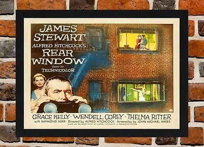 Framed Rear Window Movie / Film Poster A4 / A3 Size In Black / White Frame