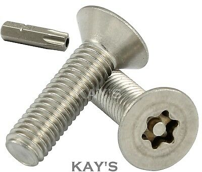 Countersunk Security Screws, Stainless Steel Torx Anti Tamper Vandal Proof Bolts