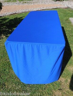 Blue 6 FT Fabric Table Cover ~ Skirt ~ Covers top and all sides ~ Used Once!
