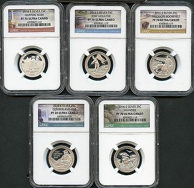 2016 S Silver America The Beautiful Quarter Set NGC PF70 Ultra Cameo -5 coin set