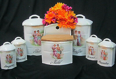 ANTIQUE Czech PORCELAIN kitchen 7 CANISTER SET 14 pc Portrait LADIES Tea Coffee