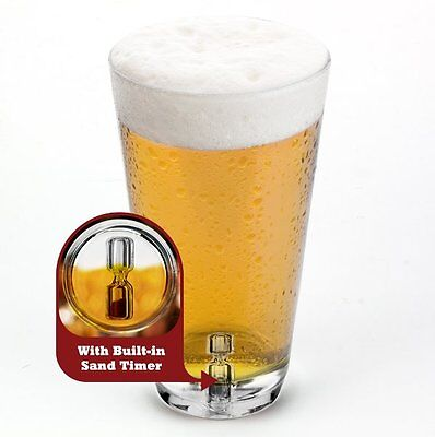 Barbuzzo TICK-TOCK PINT GLASS with Built in SAND TIMER Drinking Party Adult Game