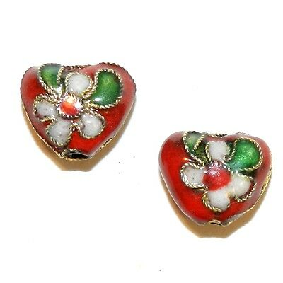 CL171p Red 12mm Flat Puffed Heart w Gold Metal Handmade Cloisonne Beads 10/pkg