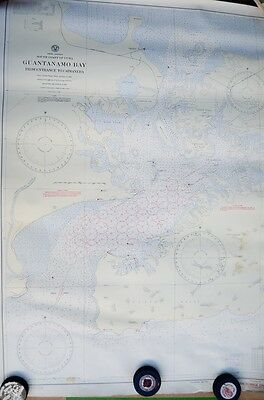 "Vtg 1934 printing of 1923 Guantanamo Bay Nautical Navigation Map 33""x44.5"""
