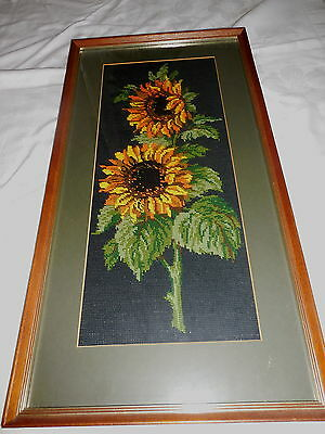 Vintage Tapestry Picture Wall Hanging Wall Flowers Completed And Framed