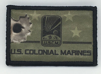 Aliens movie Colonial Marines  Morale Patch Tactical Military USA Hook Flag