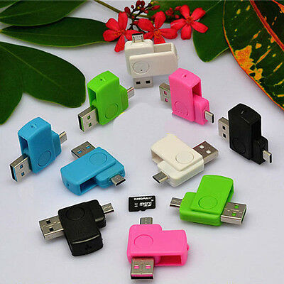 New 2 in 1 Micro USB 2.0 OTG Adapter + Micro SD TF Card Reader for Android Phone
