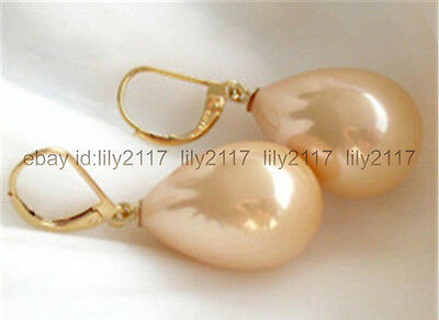 12X16MM Pink South Sea Shell Pearl 14K Gold Plated Drop Dangle Earrings
