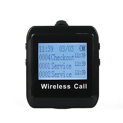 Wireless Calling Paging System Watch Receiver Host Guest Waiting Pager 433MHz BK