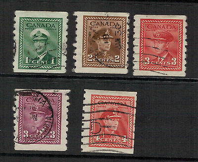 CANADA. GVI. 1942-43. sg.389-393  COILS.. SET .USED. SEE PICTURES