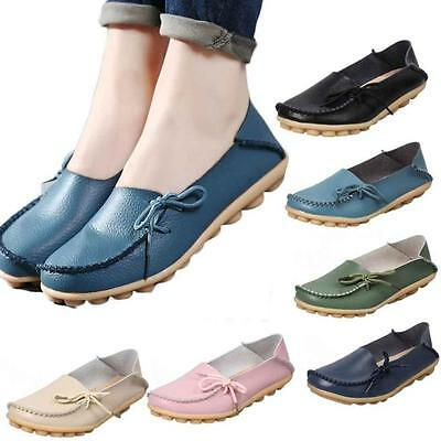 Fashion Women Leather Shoes Casual Slip On Bowknot Flat Loafers Single Shoes