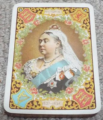 Queen Victoria Diamond Jubilee Antique 1897 Bezique Pack of Wide Playing Cards