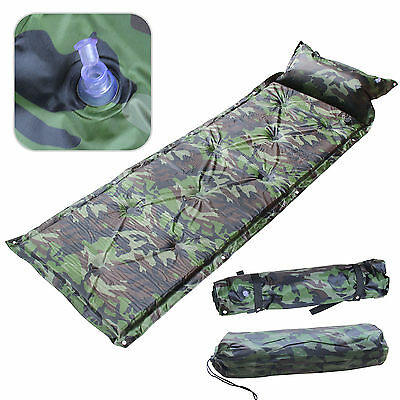 Camouflage Self Inflating Pillow Camping Roll Mat/Pad Sleeping Bed Mattress +Bag