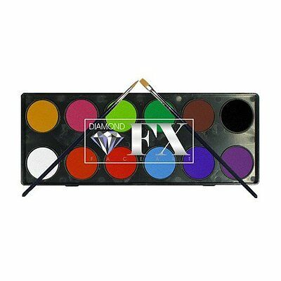 Diamond FX Face Paint Palette ~ 12 x Essential Colours