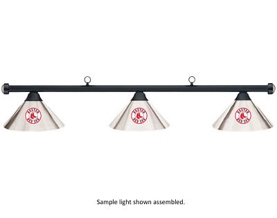 MLB Boston Red Sox Chrome Metal Shade & Black Bar Billiard Pool Table Light