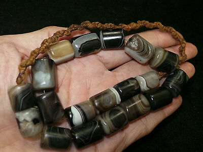 Old Afghanistan Short Cylinder Shaped Banded Agate Bead Necklace