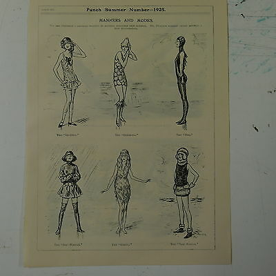 """7x10"""" punch cartoon 1925 MANNERS AND MODES swimming costumes"""