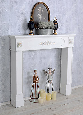 dekokamin shabby chic kaminumrandung konsole weiss kaminkonsole eur 119 99 picclick de. Black Bedroom Furniture Sets. Home Design Ideas