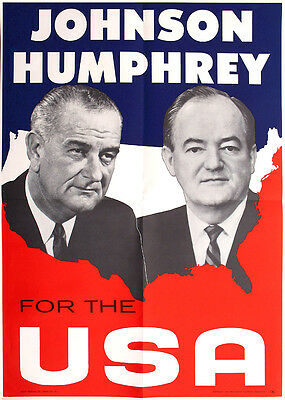 Official 1964 Johnson Humphrey FOR THE USA Jugate Campaign Poster (1028)