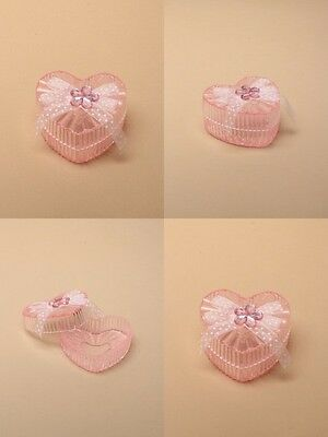PACK OF 12 PINK PLASTIC HEART TRINKET BOX WITH RIBBON BOW 6x6x3cm : SP-6307 PK12