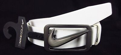 Nike Golf Men's Signature Swoosh Cut Out White Leather Belt NWT