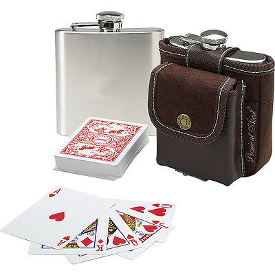 Picnic at Ascot Travel Hip Flask with Playing Cards and Travel Cooler NEW