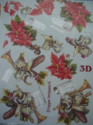 Christmas Card Making 3D Paper Tole Music & Poinsettias