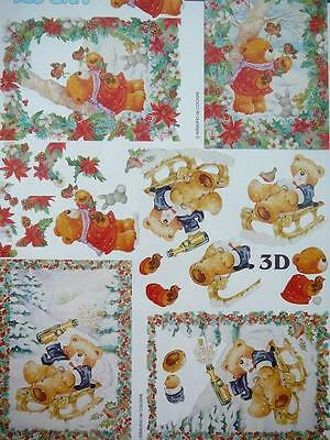 Christmas Card Making 3D Paper Tole Bear with Birds on Sleds