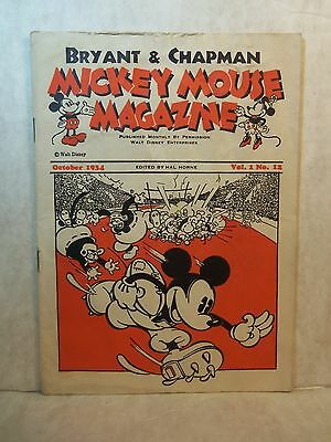 1934 MICKEY MOUSE MAGAZINE Vol I# 12 Bryant & Chapman Dairy FOOTBALL Albie Booth
