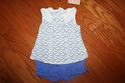 NWT Gymboree By the Seashore 6-12 Months Set Blue striped Top Bloomer Shorts