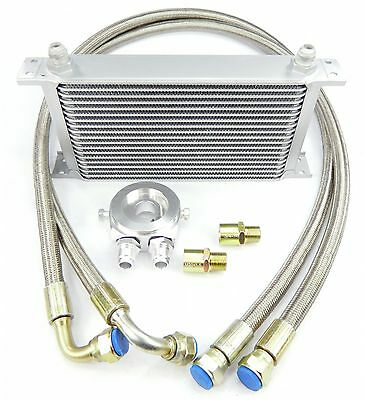 Aluminium Retrofit Oil cooler Kit Set with 19 Rib universal Dash 10 silver